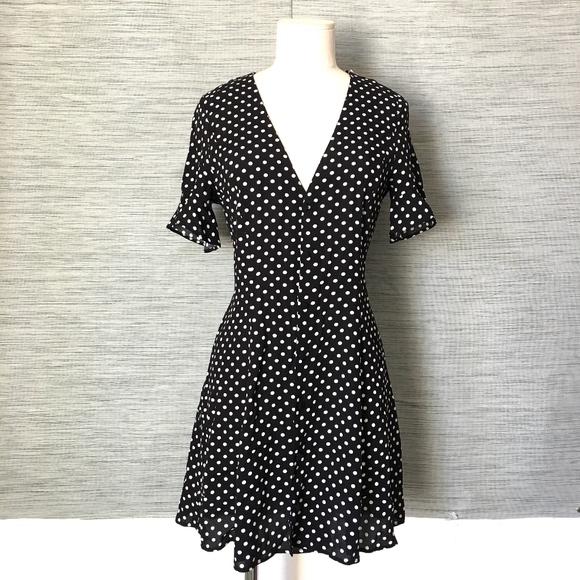 81f07fc5 Zara Dresses | New Polka Dot Ruffle Short Dress Black Xs | Poshmark